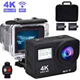 Accfly Sports Action Camera, 4K Waterproof Sport Camera,170 Degree Wide Angle WiFi HD Cam, 12MP 2 Rechargeable Battery, Free Travel Bag