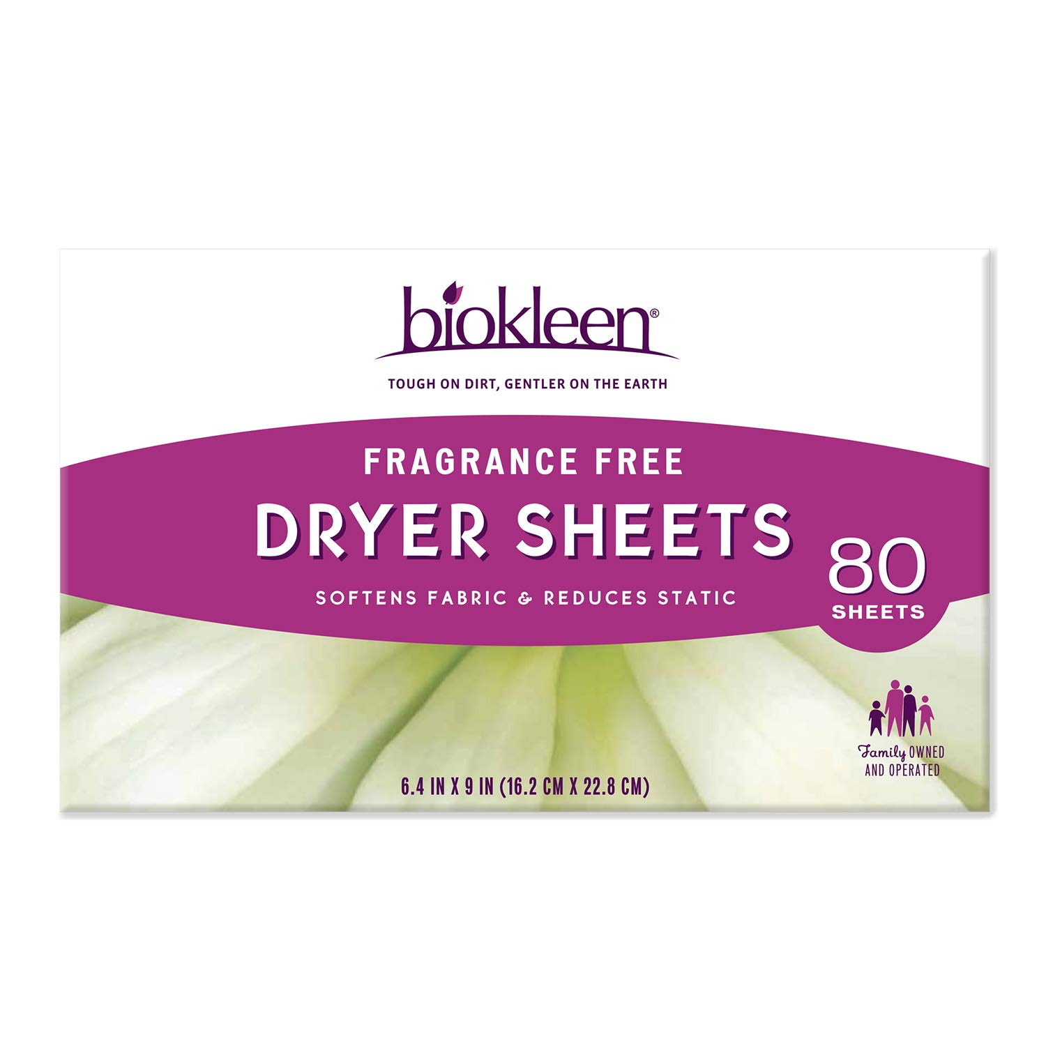 Biokleen Laundry Dryer Sheets, Fabric Softener, Eco-Friendly, Non-Toxic, Plant-Based, No Artificial Fragrance, Colors or Preservatives, Fragrance Free, 80 Sheets