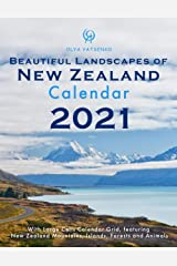 Beautiful Landscapes of New Zealand Calendar: With Large Cells Calendar Grid, featuring New Zealand Mountains, Islands, Forests and Animals (2021 Travel Photo Calendar Series) Paperback