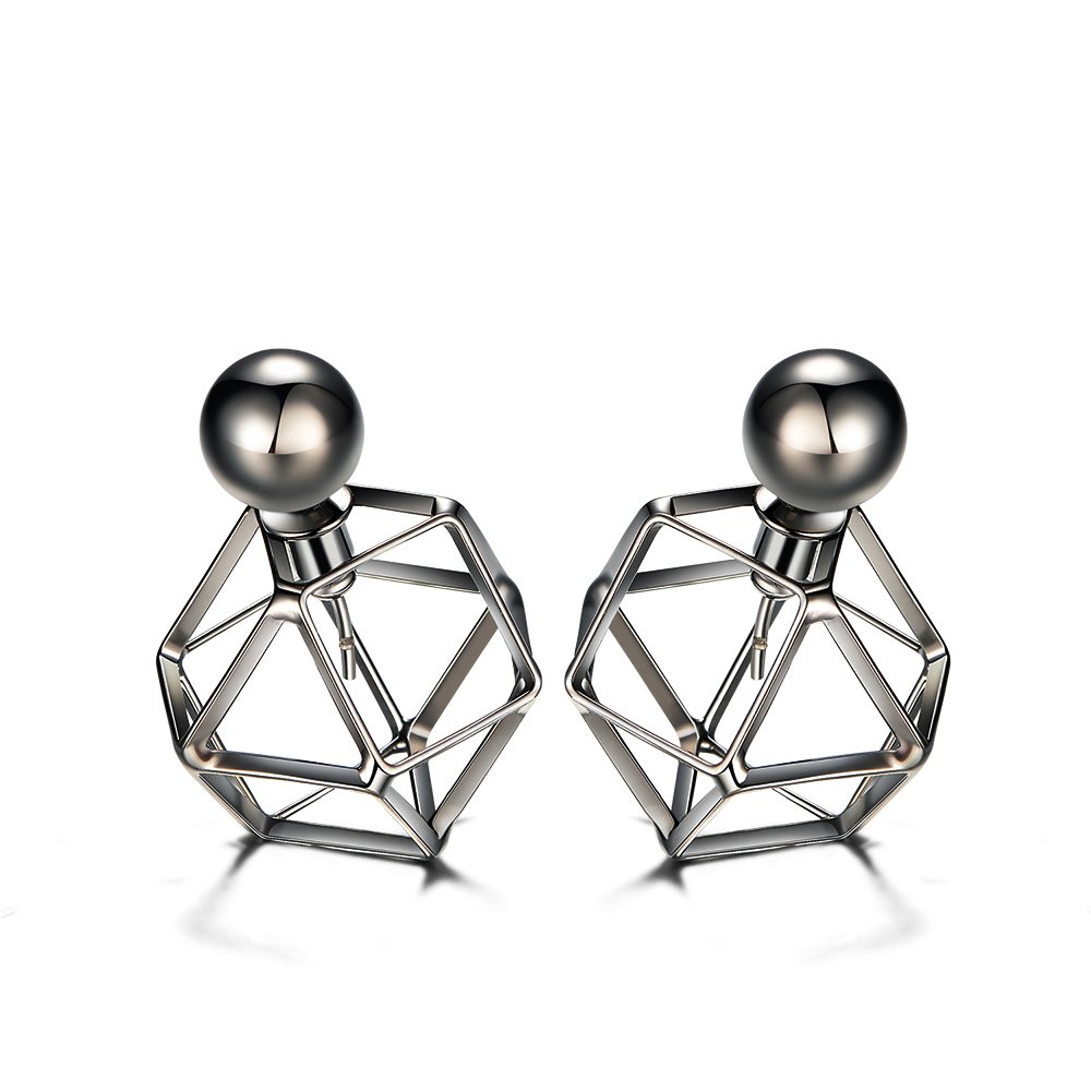 Viennois Hollow Geometric Ear Jackets Fashion Women Silver Ball Stud Earrings A014028E-001