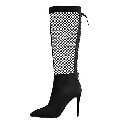 Onlymaker Women's Stiletto Mesh Design Patchwork Knee High Boots Pointed Toe Back Zipper Fashion Boots | Knee-High