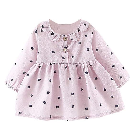 0752542ff Mitlfuny Primavera Verano Niñas Bebé Princesa Vestidos Manga Larga Amor  Impresión Vestido Punto de onda Bautizo Collar de Pétalo Botón Faldas  Cumpleaños ...
