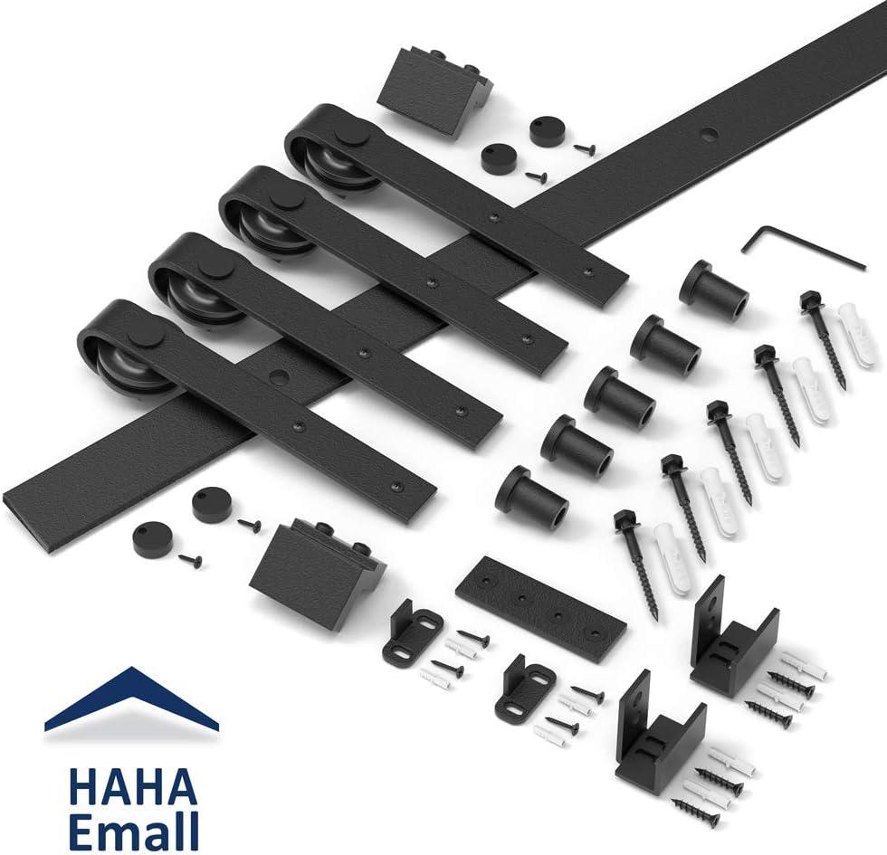 Hahaemall Heavy Duty Metal Steel Black Super Mini Sliding Barn Door Hardware Track Roller Kit Hanging TV Stand Cabinet System 6FT Double kit