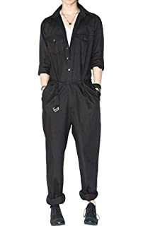59eb828321c AITFINEIS Mens Romper Coveralls One-Piece Long Sleeve Jumpsuit Casual  Overalls