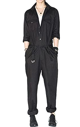 AITFINEISM Mens Romper Coveralls One-Piece Long Sleeve Jumpsuit Casual  Overalls (Small 1eef9ba0b34