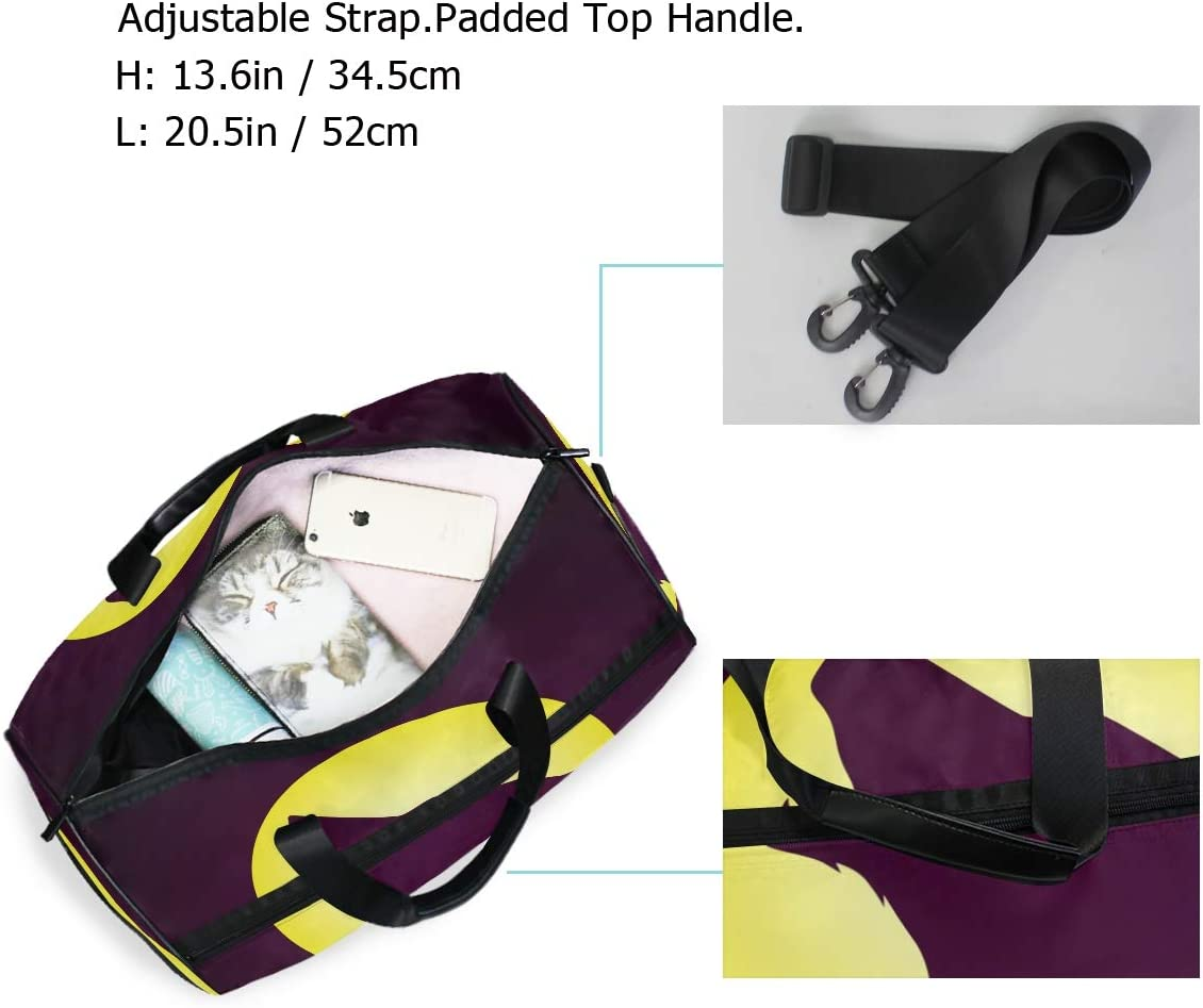 Lightweight Water Resistant Tear Resistant FANTAZIO Full Moon Wolf Howling Sports Bag Packable Travel Duffle Bag
