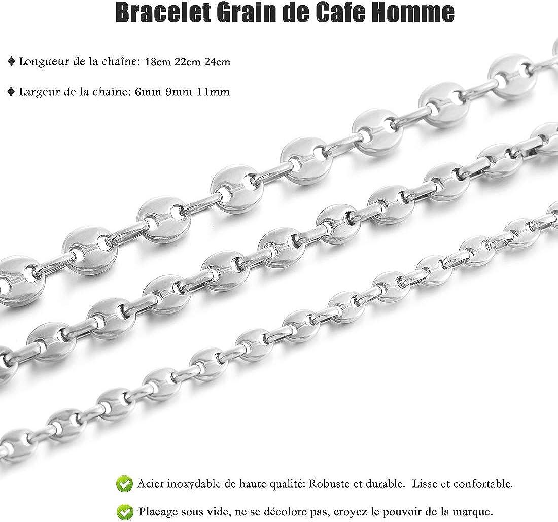 Chaine Grain de Cafe Longueur 18//22//24cm AFSTALR Bracelet Graine de Caf/é Homme Gourmette Argent Noir Or en Acier Inoxydable Largeur 6//9//11mm