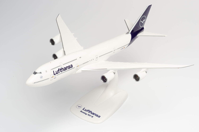 Herpa 611930-Boeing 747-8, Intercontinental, biplano de Lufthansa, Alas, avión con Soporte, fabricación, Modelos en Miniatura, Objeto de colección, plástico, Ajuste a presión-Escala 1:250 (611930)