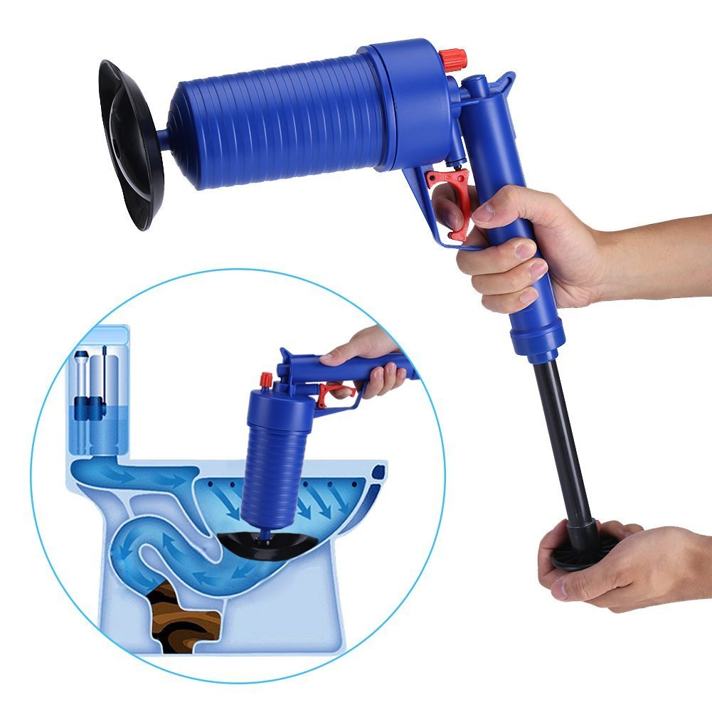 Drain blaster air Powered plunger gun, High Pressure Powerful Manual sink Plunger Opener cleaner pump for Bath Toilets, Bathroom, Shower, kitchen Clogged Pipe Bathtub (blue) by Storystore (Image #7)