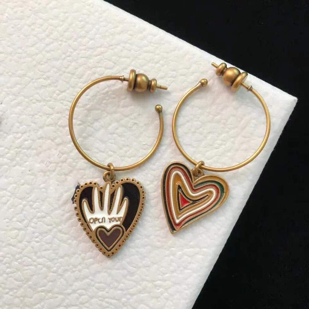 Hoop Heart-Shaped Woman Gold Retro Dangle Earrings Girl Lovely Drop Jewelry Earrings /…