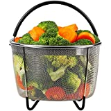 Steamer Basket for Instant Pot Accessories 6 or 8 quart Pressure Cooker, Stainless Steel Steamer Insert Strainer Basket Steamer Rack Stand for Vegetables Eggs Meats Broth
