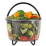 Steamer Basket for Instant Pot Accessories 6 or 8 quart Pressure Cooker, Stainless Steel Steamer Insert Strainer Basket Steamer Rack Stand for Vegetables Eggs Meats Broth