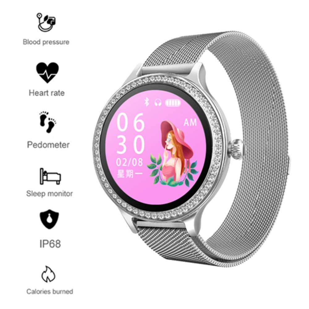 Sport Watch Ms, TechCode Elegant Activity Health Tracker Smartwatch with Heart Rate Monitor Waterproof IP68 Exercise Pedometer Calorie Steps Count Wristband Bracelet for Android iOS (Silver) by TechCode