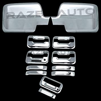 08-14 Ford Super Duty Chrome Mirror+4 Door Handle w// PSG Keyhole+Tailgate Cover