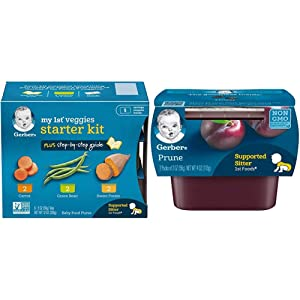 Gerber Purees My 1st Vegetables, Box of 6 2 Ounce Tubs (Pack of 2) & Purees 1st Foods Prune Baby Food Tubs, 2 Ounce Tub, 2 Count (Pack of 8)