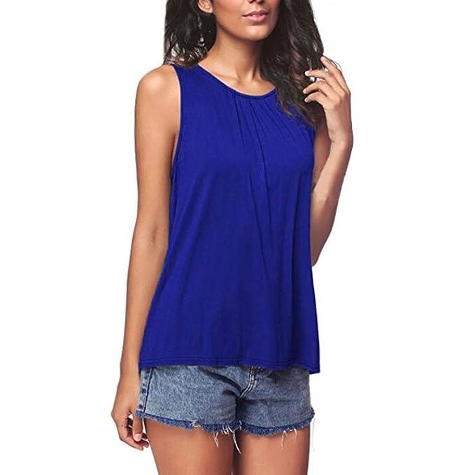 SHOBDW Mujeres de Verano de Moda Sin Mangas Tanque Tops Camiseta Chaleco Blusa