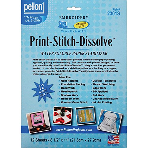Pellon 2301S Print-Stitch-Dissolve Stabilizer for Embroidery, 8.5 by 11-Inch, White, 12-Pack