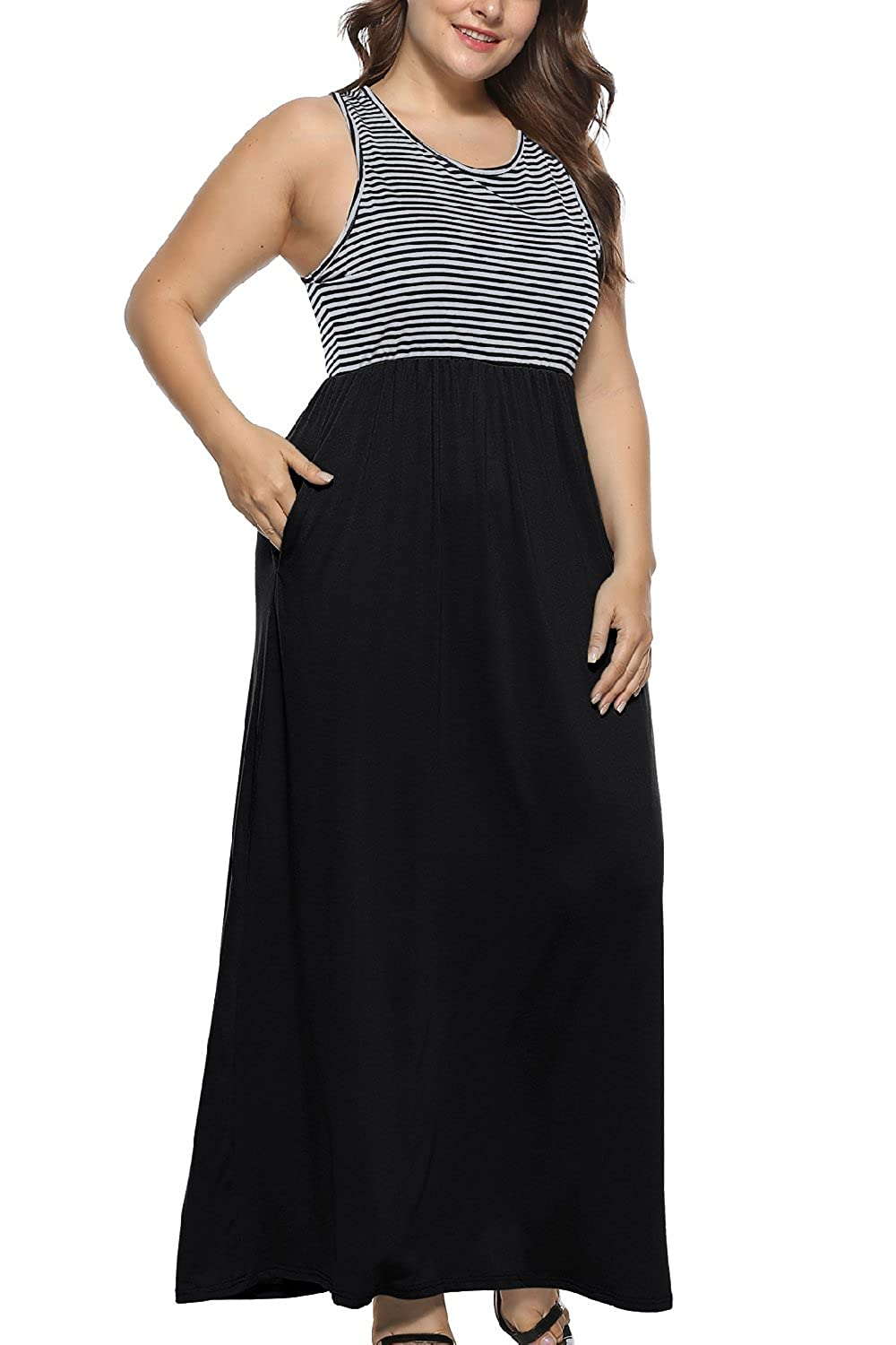 Yacun Women Plus Size Maxi Tank Dress Sleeveless Stripes Sundress at ...
