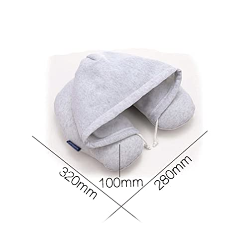 Tipo U Almohada Relleno PP Algodón Creativo con Capucha en Forma de U Almohada Protección para