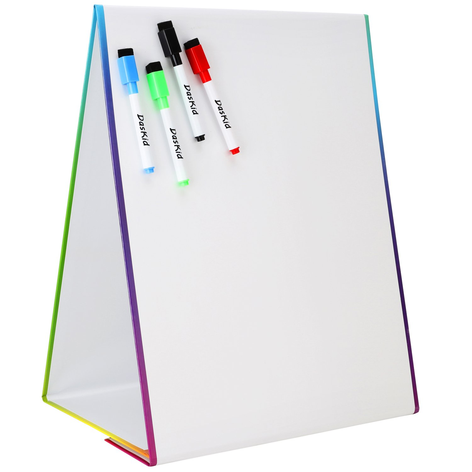Tabletop Magnetic Easel & Whiteboard (2 Sides) Includes: 4 Dry Erase Markers. Drawing Art White Board Educational Kids Toy