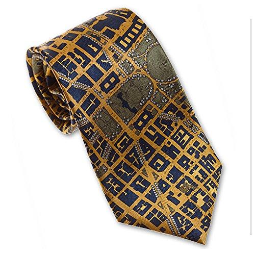 Josh Bach Mens CIVITAS Map of Washington DC Silk Necktie in Blue-Gold, Made in - Dc Washington In Gold Shops