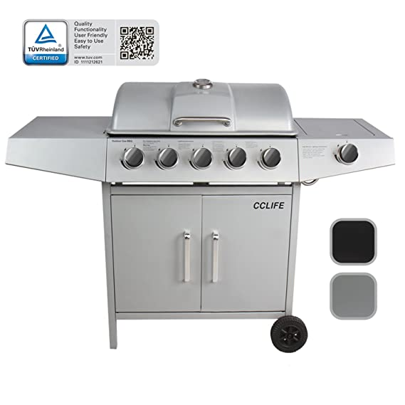 CCLIFE Barbacoa de Gas Parrilla Barbacoa Gas con 3+1/4+1/5+1/6+1 quemadores, Color:Silver, Tamaño:5+1 Quemador: Amazon.es: Hogar