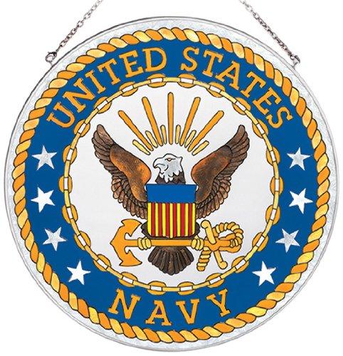 Navy Suncatcher (Amia Handpainted Glass United States Navy Suncatcher, 11-1/2-Inch Circle)