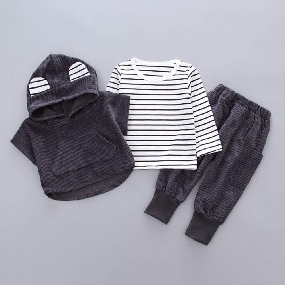 KONFA Toddler Baby Girls Boys Autumn Clothing,Striped Ears Pocket Hoodie+Pants 2Pcs Outfits,for 0-3 Years Old Kids