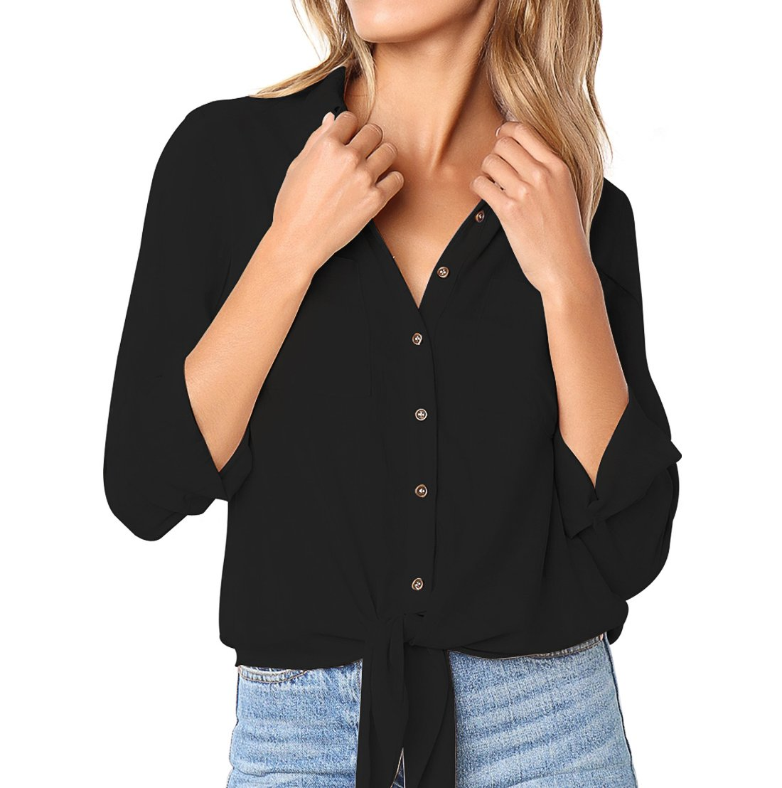 FCZ Button Down Blouse Shirts for Women Long Sleeve Tie Front Knot Casual Tops with Chest Pockets Black XL
