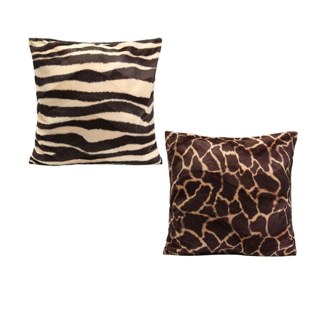 Baoblaze Pack 2 45x45cm Standard Animal Print Pillow Case Leopard Zebra Office Sofa Car Cushion Cover - A, as described