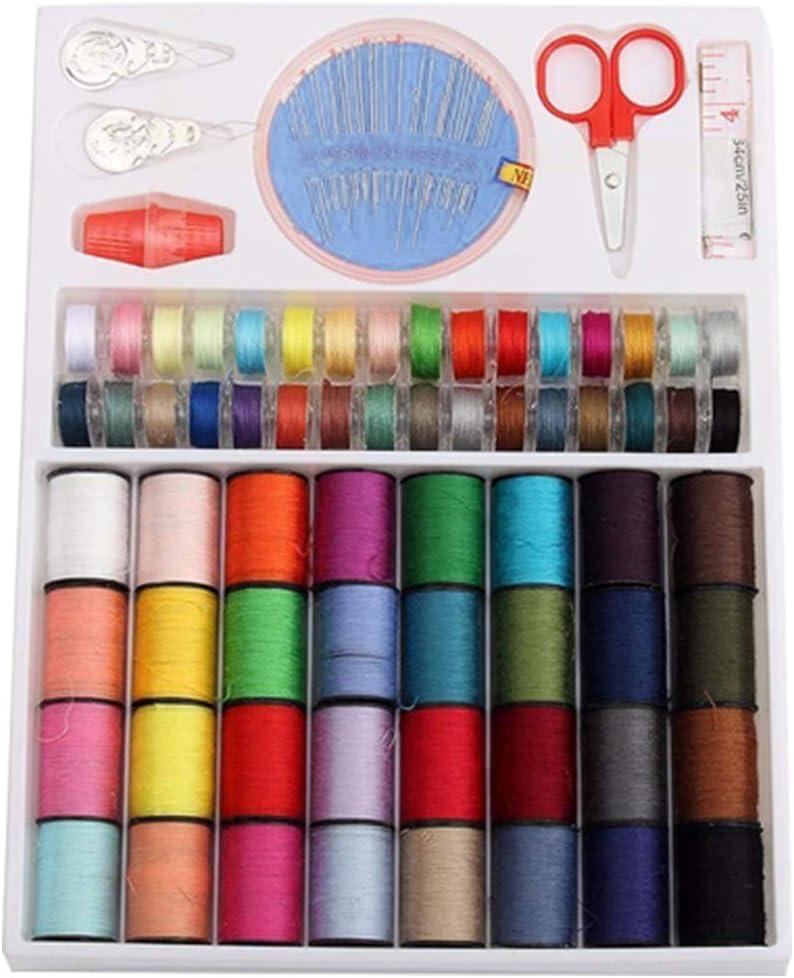 Hilos de Coser de Bobinas - WENTS Bobinas Hilo de Coser 64 Carretes 32 piezas Colores Surtidos Hilos in Poliéster para Máquina de Coser Transparente Plastico Cinta métrica Tijeras