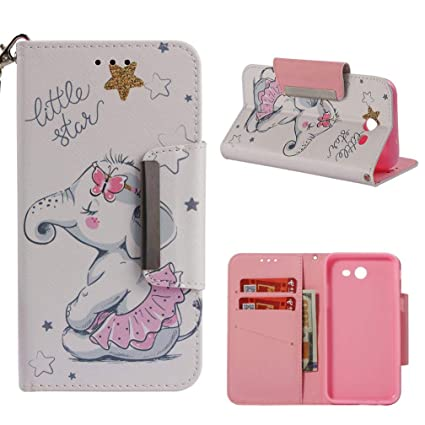 Galaxy J3 2017/J327 Case,[Shockproof] Durable 3D Printing PU Leather [Kickstand] Wallet Case Inner TPU Bumper Full Protective Cards Holder for Girls ...