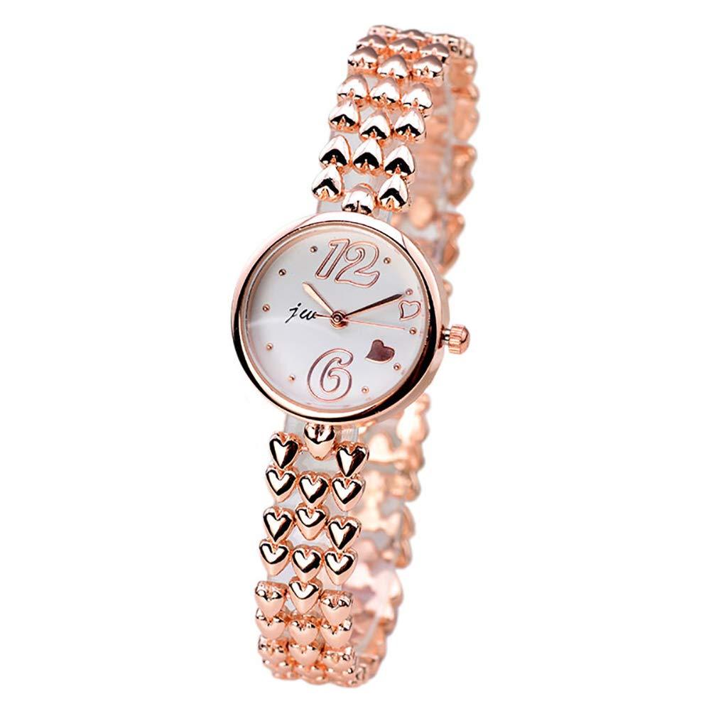Ho clock Reloj de Pulsera con Forma de Corazón con Forma de Corazón único Reloj Digital de Cuarzo para Estudiantes Reloj para Mujer Simple - Oro/Plata ...