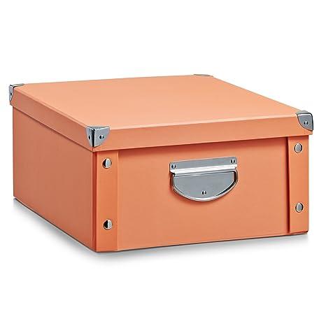 Zeller 17858 Caja de almacenaje de cartón Naranja (Apricot) 40 x 33 x 17