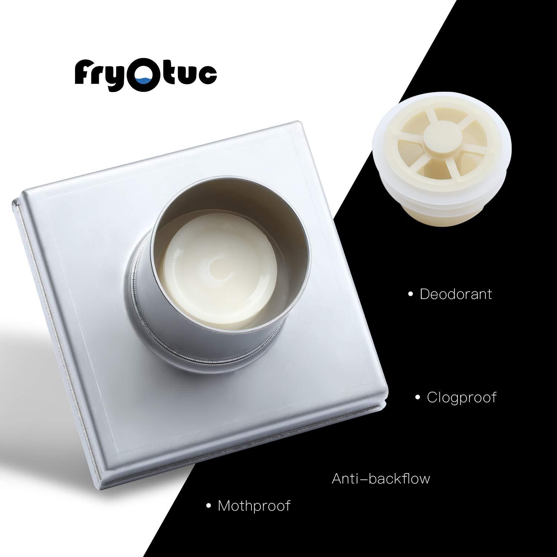 Fryotuc Rustproof Shower Drain 6 Inch Bathroom Floor Drain Brushed Shower Drain Cover with Quadrate Pattern by Fryotuc (Image #4)