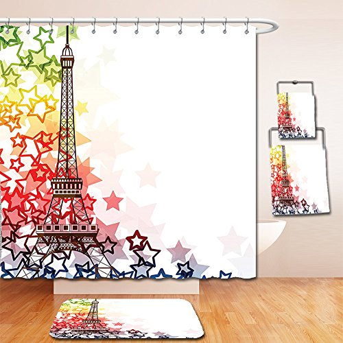 Nalahome Bath Suit: Showercurtain Bathrug Bathtowel Handtowel Paris Decor Collection Colorful Image of Eiffel Tower with Stars Love Romance International Town Landmark Green Yellow - Dr Premium Outlets International