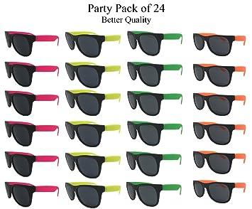 Amazon.com: anteojos de sol de neón (paquete de 24), varios ...