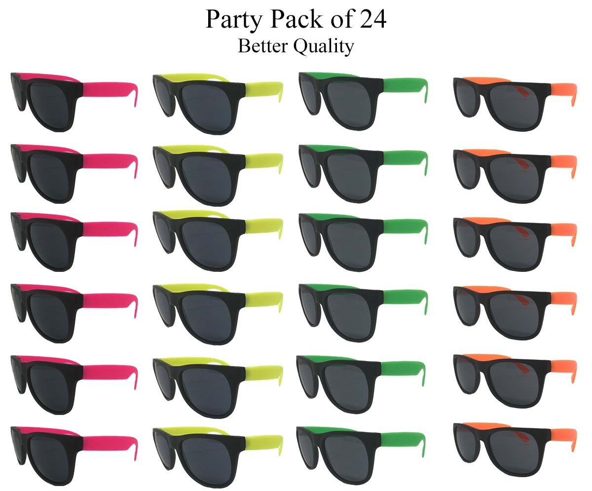 Neon Sunglasses (Pack 24) Assorted Cool Colors Wayfarer Neon Sunglasses Party Favors Party Pack Wholesale Bulk for Adults Kids