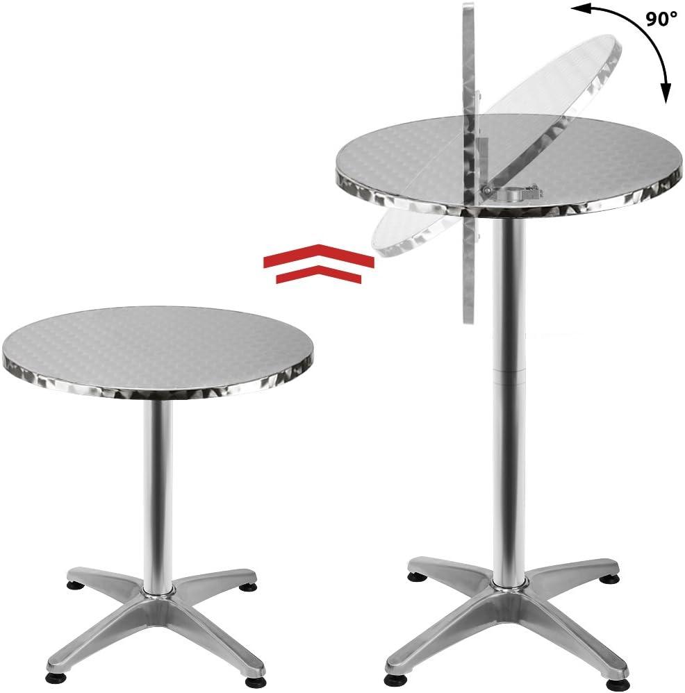 Deuba 2en1 Mesa de pie de Acero y Aluminio Plegable Mesa de Bistro Ajustable en Altura versátil Resistente jardín