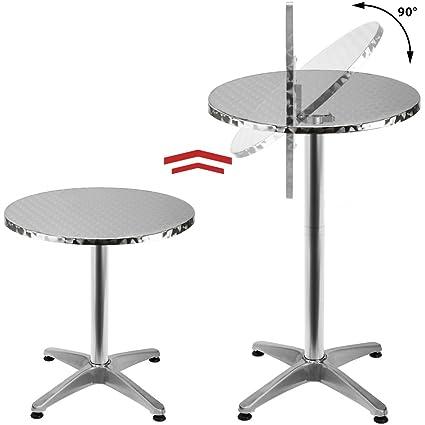 Deuba Table de Bar Haute 2en1 alu Hauteur réglable et Pliable - 70cm/110cm  - Cuisine Maison Jardin terrasse