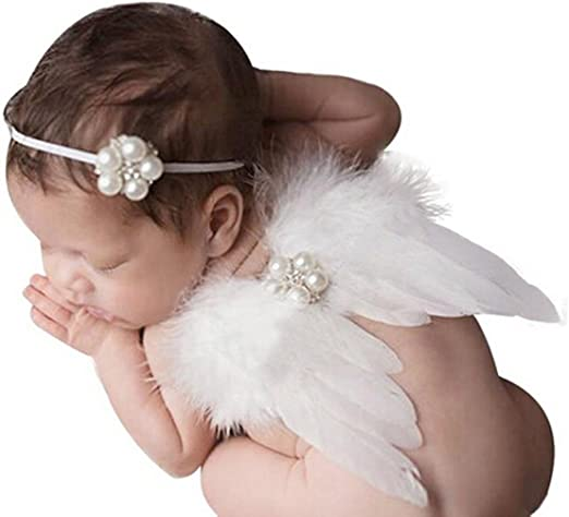 Newborn Baby Angel Wings Headband Costume Photo Photography Props Outfits UK