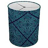 Hardback Linen Drum Cylinder Lamp Shade 8'' x 8'' x11'' Spider Construction [ Green Blue Teal ]