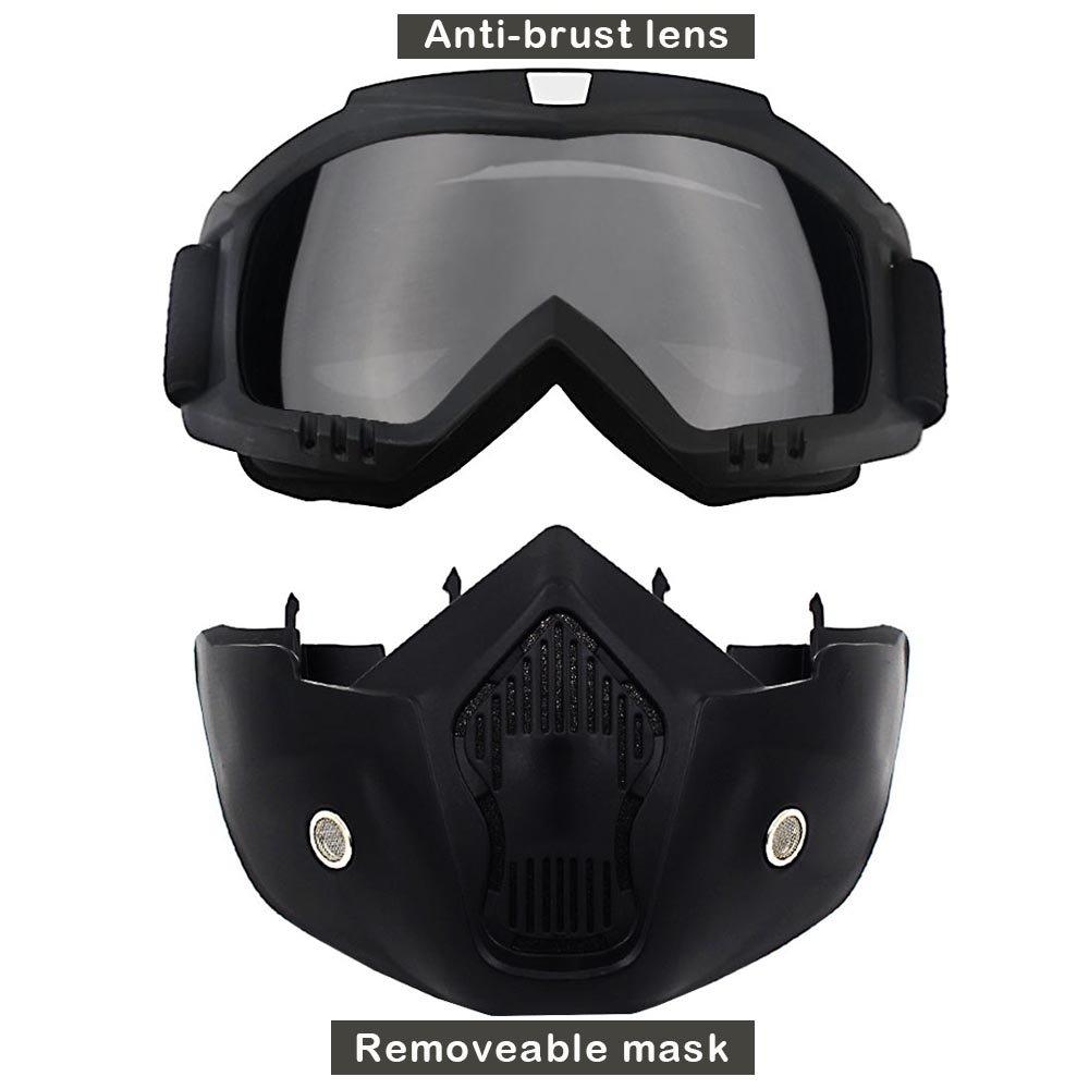 Detachable Motorcycle Riding Helmet Open Face Mark PC Goggles Ski Bike Shield