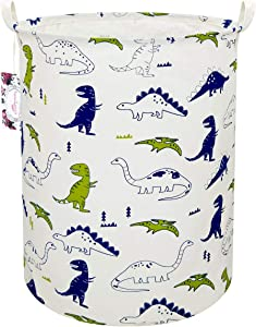 """TIBAOLOVER 19.7"""" Large Sized Waterproof Foldable Canvas Laundry Hamper Bucket with Handles for Storage Bin,Kids Room,Home Organizer,Nursery Storage,Baby Hamper (Polychrome Dinosaurs)"""