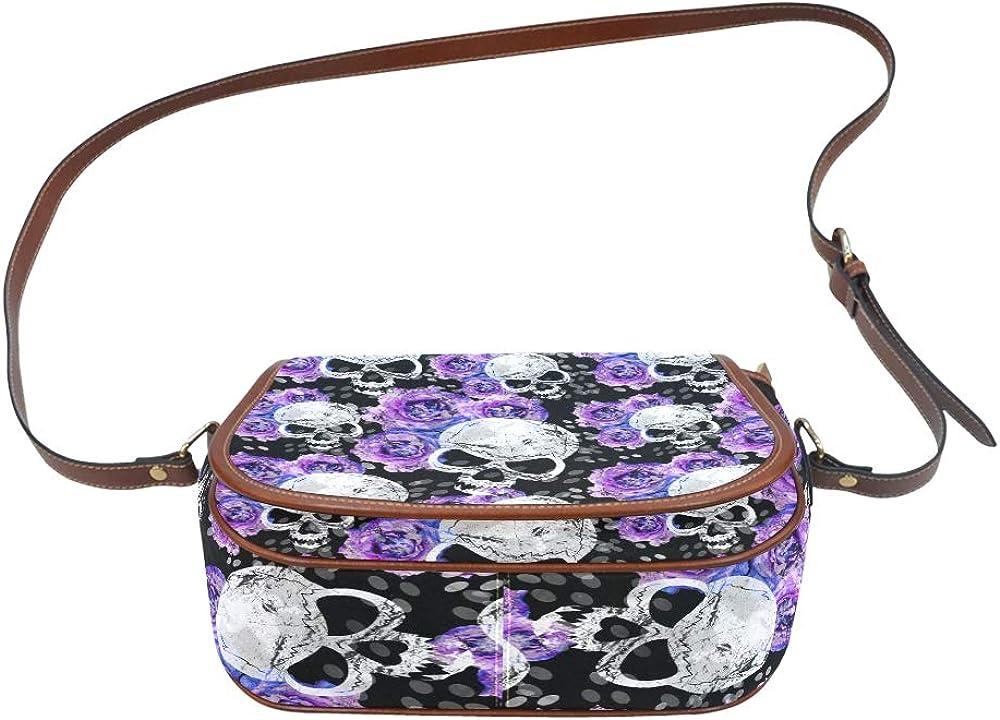Sugar Skulls And Lavender Purple Flowers On Gothic Womans Shoulder Bag Flap With Magnetic Snap Printed Shoulder Crossbody Bag Unique Crossbody Bag