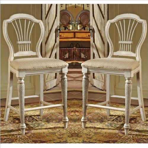 Hillsdale Wilshire Wood - Hillsdale Wilshire White 24 Inch Counter Stool (Set of 2)