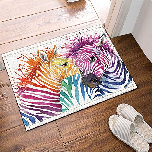 (GoEoo Splash Decor Zebras with Spot Snuggle Together Bath Rugs Non-Slip Doormat Floor Entryways Outdoor Indoor Front Door Mat Kids Bath Mat 15.7x23.6in Bathroom Accessories)