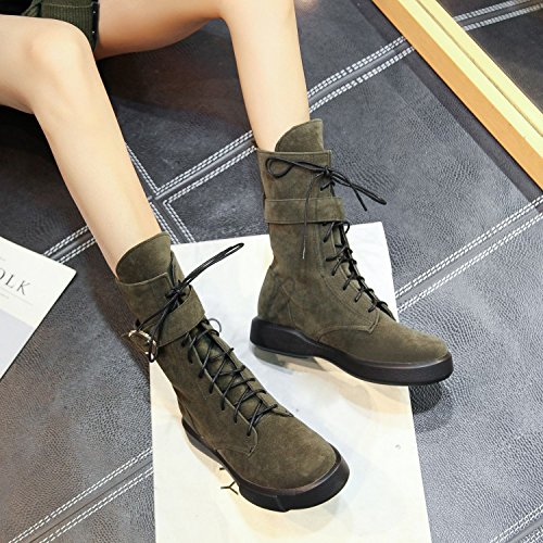 round versatile boots ZQ QXAutumn of female short large Martin numbers with Winter sleek and base head students Military boots and Barrel boots Green flat a with CPqtqrxR