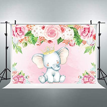 Mesa Principal Baby Shower.Elephant Party Backdrop For Baby Shower Pink Floral Girl Birthday Photography Background Photo Booth Banner Cake Table 5x3ft Decoration Celebration