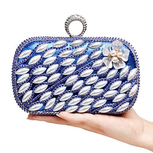 Bague Sac De Kys Embrayages Design Soirée Fleur Diamants Mariage Perles Blue Sacs wOBIq4